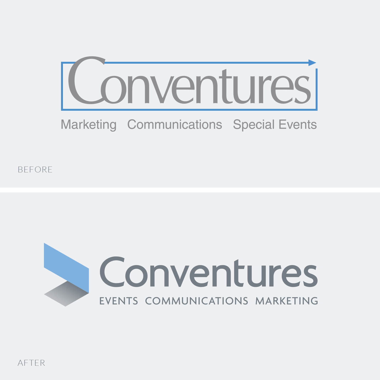 Conventures logo before and after