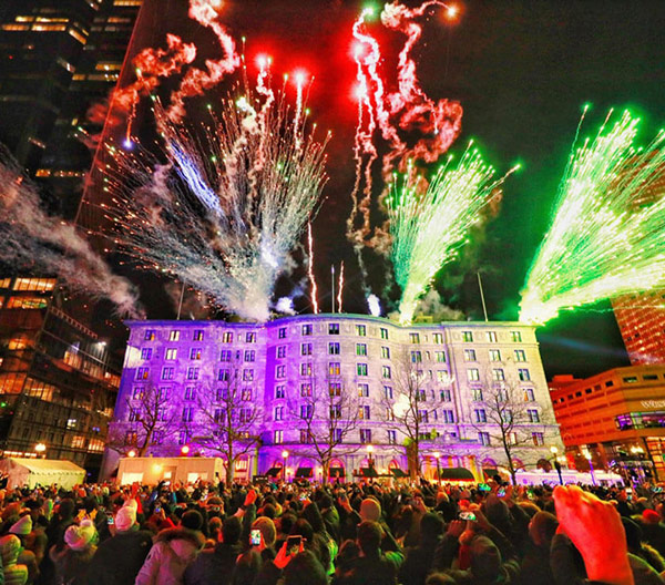 Welcoming 2020 with pyrotechnics off the roof of the Fairmont Copley Plaza